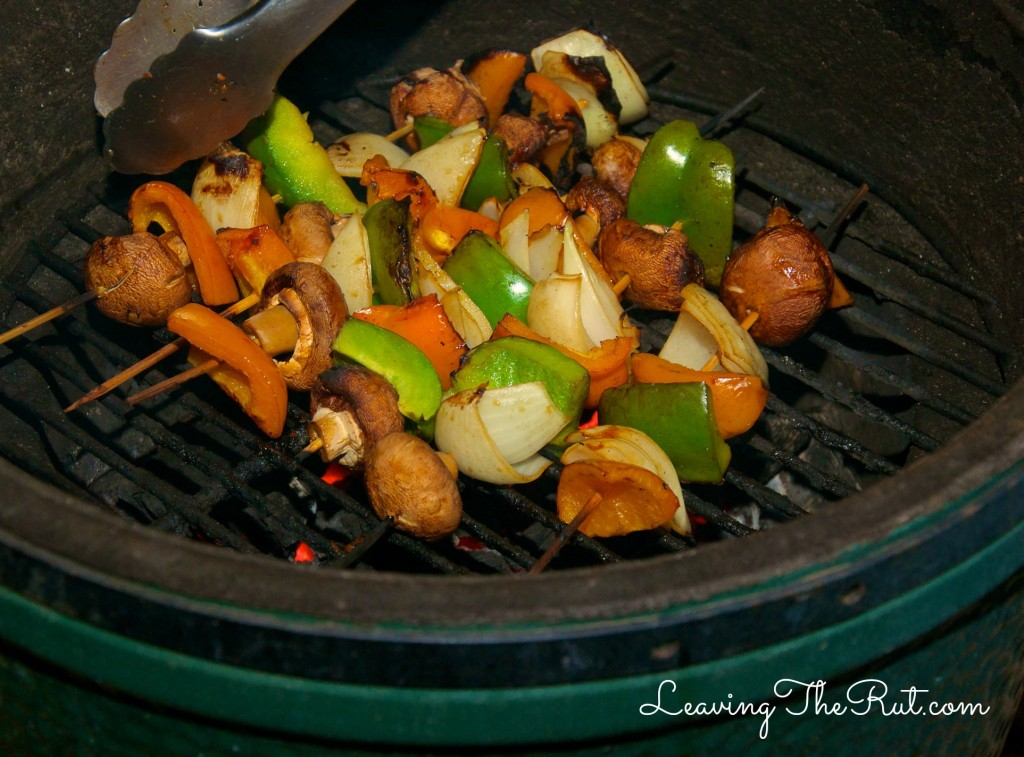 Marinades and Memories easy beef marinade veggies on Big Green Egg