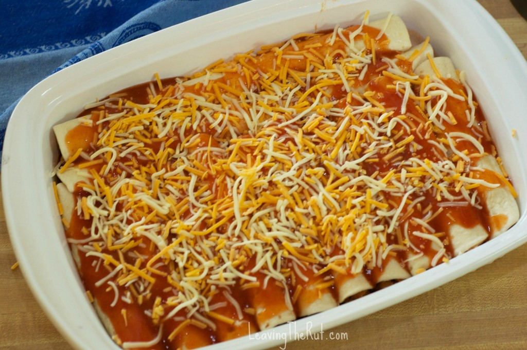 Chicken Enchiladas in baking dish with cheese