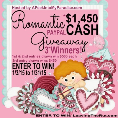 My First Giveaway and it is Cash!!! 3 winners get a total of $1450