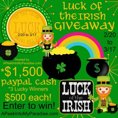 Luck of the Irish $1500 PayPal Cash Giveaway