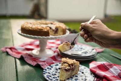 Raspberry Almond Coffeecake with Cream Cheese filling