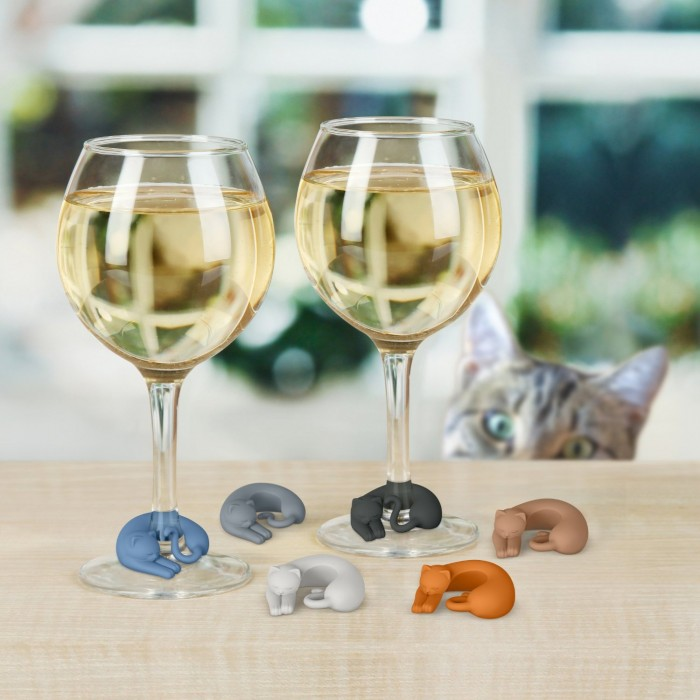 kitty cat wine glass markers